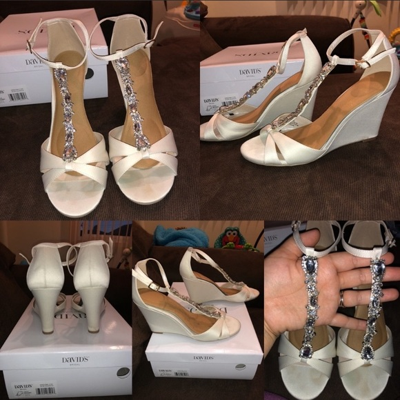 3d05dfbac David s Bridal Shoes - David s bridal wedding white satin jewel shoes